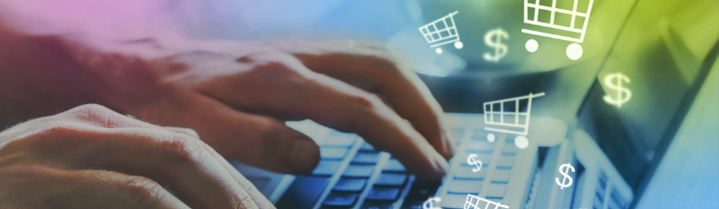Hand typing on keyboard suggesting online shopping and ecommerce