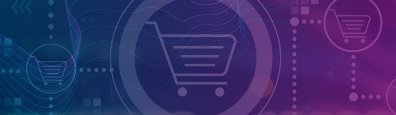 shopping cart icon with purple background